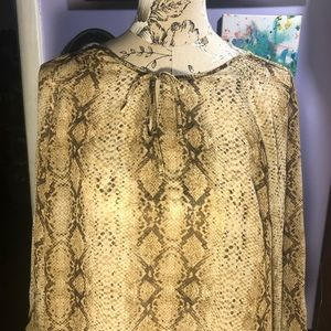 Soft, sheer beautiful blouse snakeskin pattern